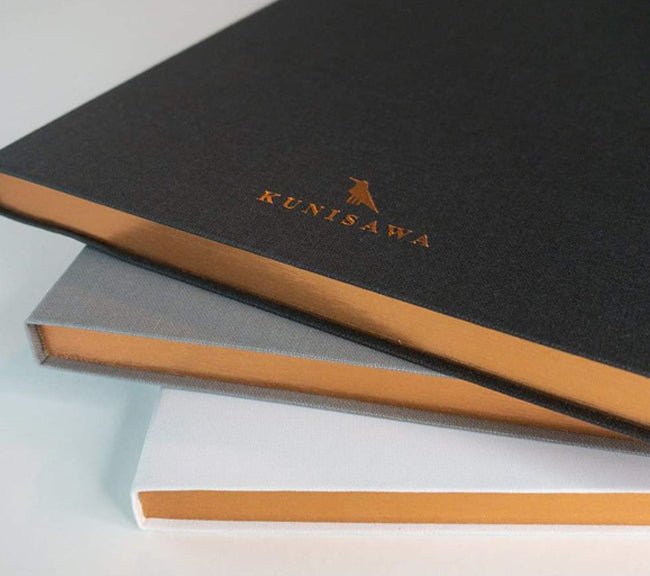Kunisawa handmade Japanese notebook journal.  Luxury range of notebooks from Japan.  Perfect notebook for business and looking smart.