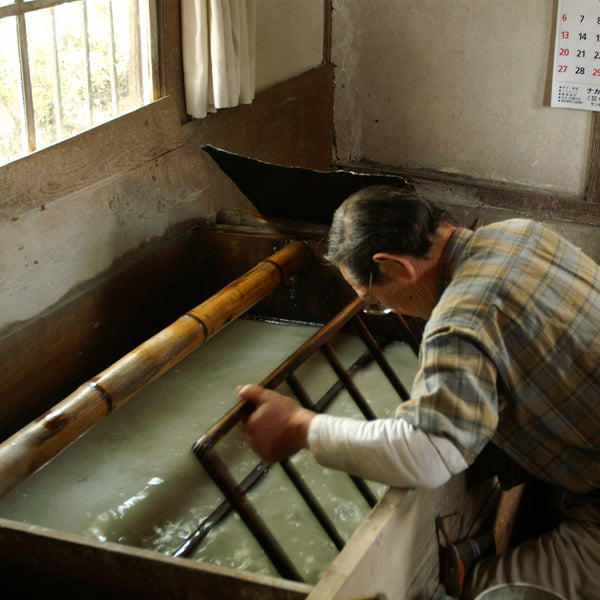 Washi bath and Su.  Scooping up the kozo fibres to make a thin beautiful sheet of handamade japanese paper.