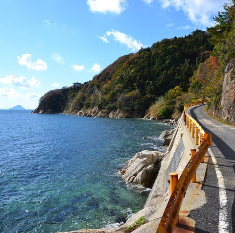 Suo Oshima Coastal road loops around the whole island.