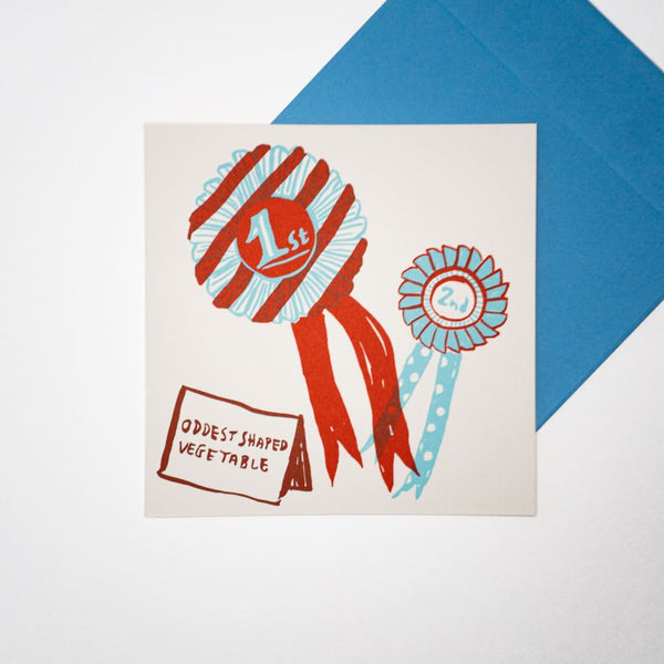 1st & 2nd Prize Rosette. Hand printed Greeting Card - Cards Japanese Stationery
