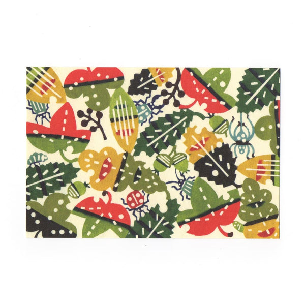 Autumn Leafs & Bugs Katazome Postcard - Cards Japanese Stationery