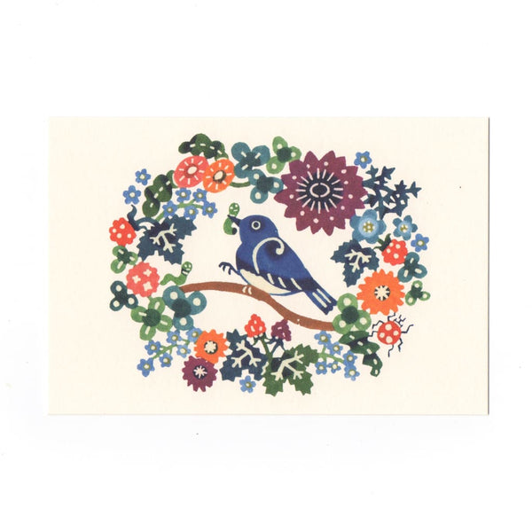 Bird & Flowers Katazome Postcard - Cards Japanese Stationery