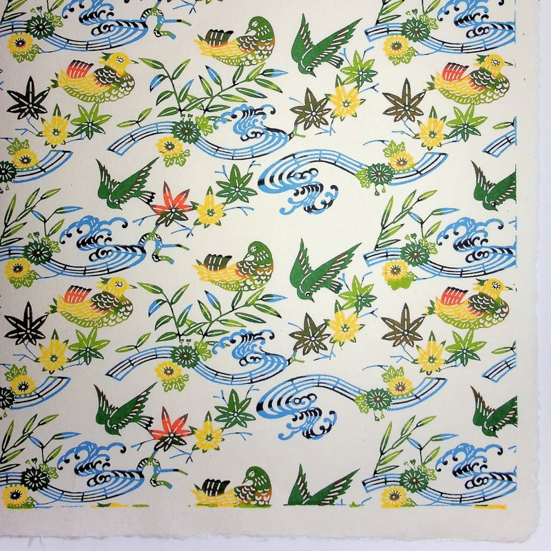 Birds Maple leaf & Flower Green Katazome Paper - 470mm x 620mm - paper Japanese Stationery