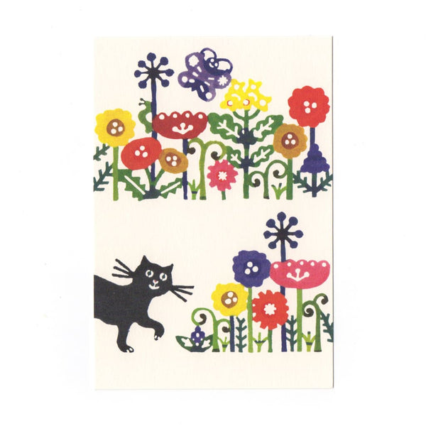 Black Cat & Flowers Katazome Postcard - Cards Japanese Stationery