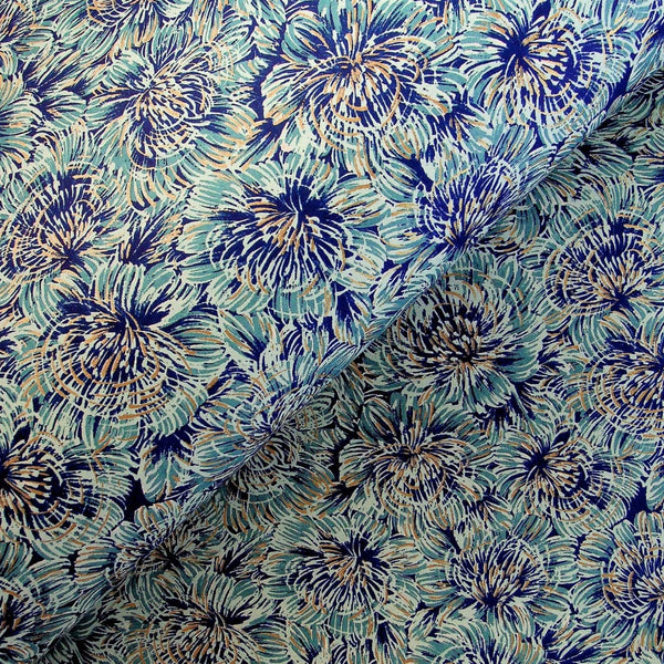 Blue scratchy Floral Printed Paper - 470mm x 620mm - paper Japanese Stationery