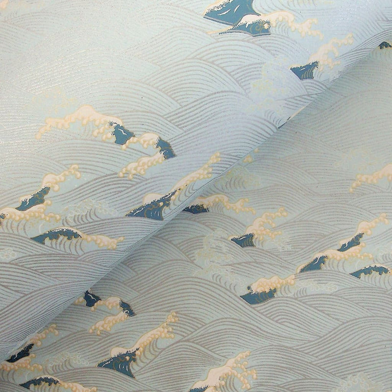 Blue & Silver Japanese Waves Printed Paper - 470mm x 620mm - paper Japanese Stationery
