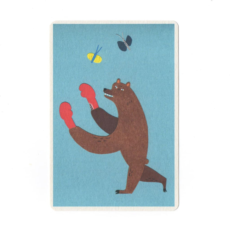 Boxing Bear Collage Print Postcard - Cards Japanese Stationery