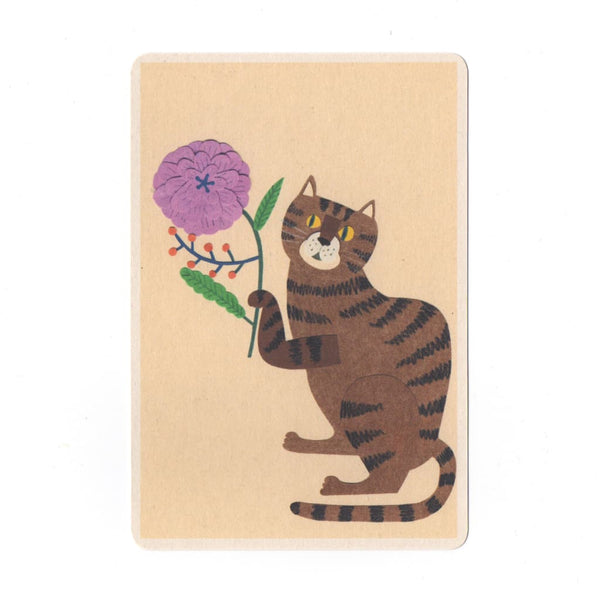 Cat & Flower Collage Print Postcard - Cards Japanese Stationery