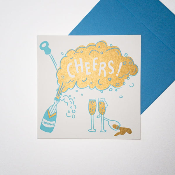 CHEERS Champagne. Hand printed Greeting Card - Cards Japanese Stationery