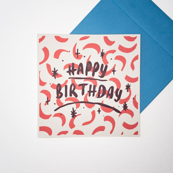 Confetti HAPPY BIRTHDAY. Hand printed Greeting Card - Cards Japanese Stationery