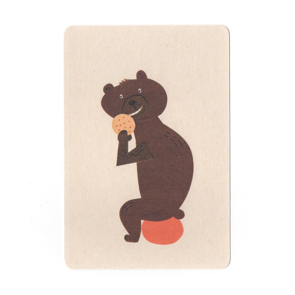 Cookie Eating Bear Collage Print Postcard - Cards Japanese Stationery