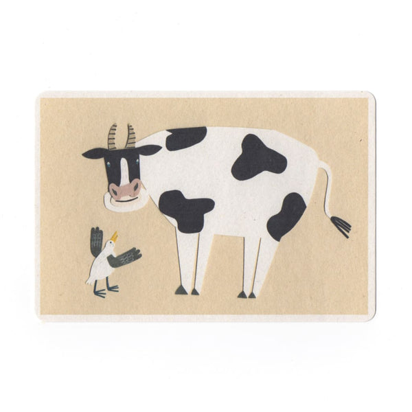 Cow & Bird Collage Print Postcard - Cards Japanese Stationery