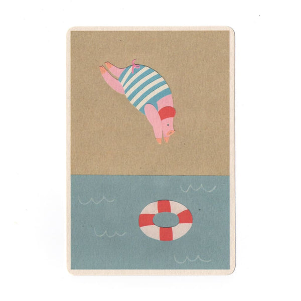 Diving Collage Print Postcard - Cards Japanese Stationery