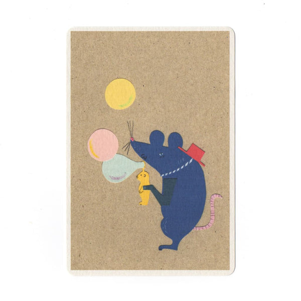 Fairground Mouse Collage Print Postcard - Cards Japanese Stationery
