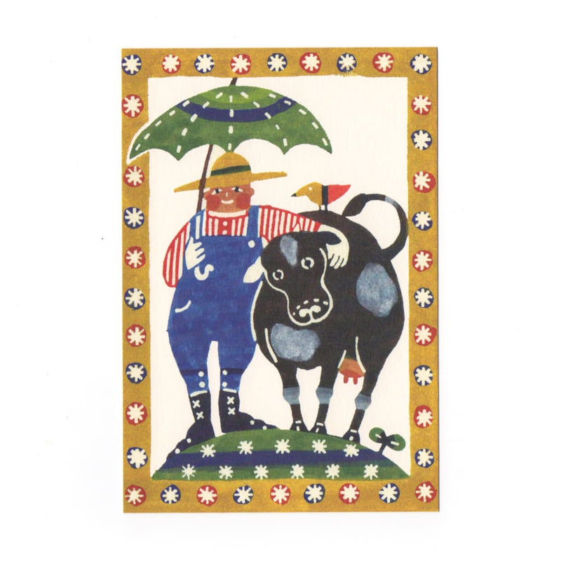 Farmer & The Cow Katazome Postcard - Cards Japanese Stationery
