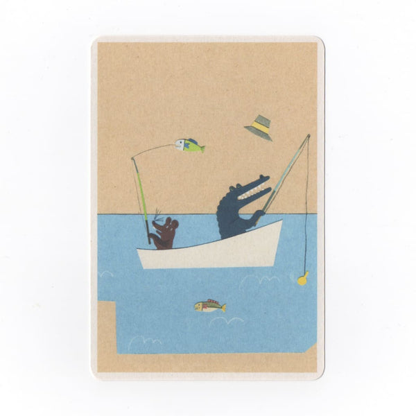 Fishing Crocodile Collage Print Postcard - Cards Japanese Stationery