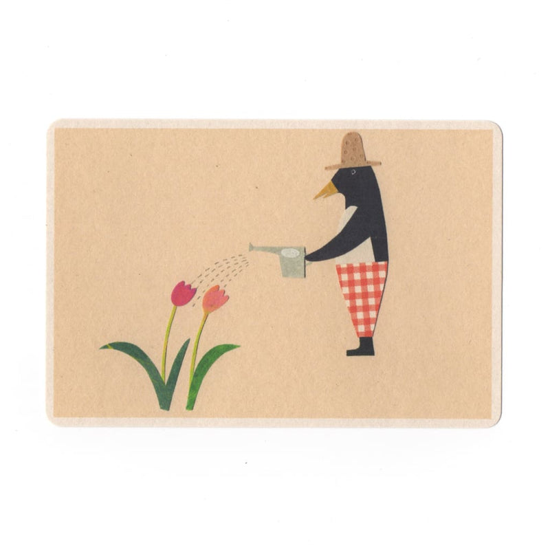 Gardener Collage Print Postcard - Cards Japanese Stationery