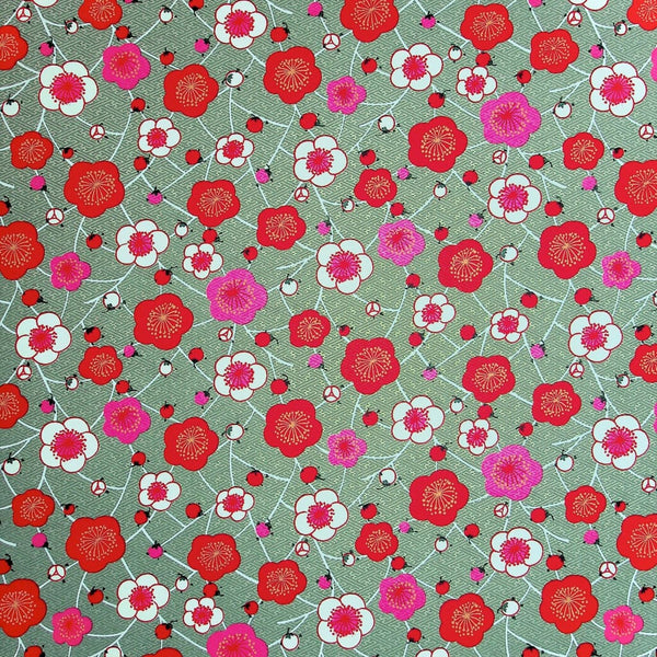 Geometric Poppy Printed Handmade Paper - 470mm x 620mm - paper Japanese Stationery