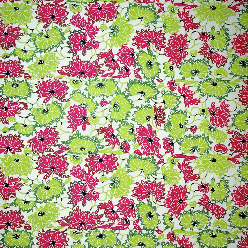 Green & Pink Japanese Flower Print - 470mm x 620mm - paper Japanese Stationery