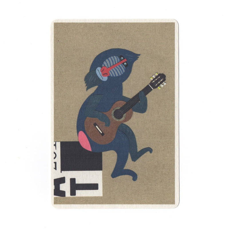 Guitar Player Collage Print Postcard - Cards Japanese Stationery