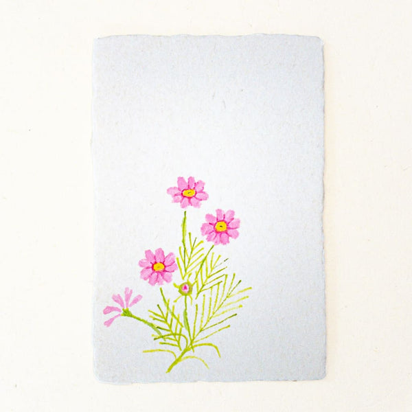 Hand painted Cosmos Flower Postcard 20% OFF - Cards Japanese Stationery
