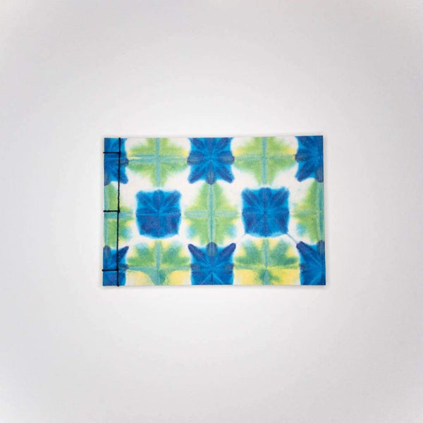 Handmade A6 Blue & Green Shibori Notebook - notebooks Japanese Stationery