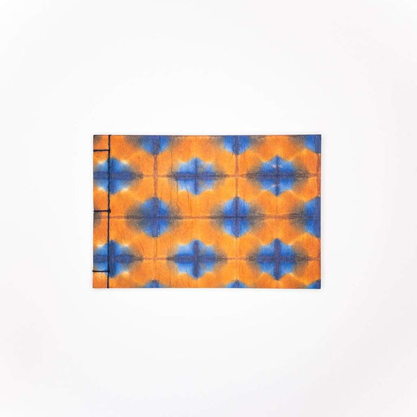 Handmade A6 Blue & Orange Shibori Notebook - notebooks Japanese Stationery