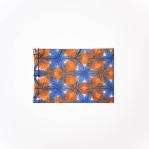 Handmade A6 Orange Snowflake Shibori Notebook - notebooks Japanese Stationery