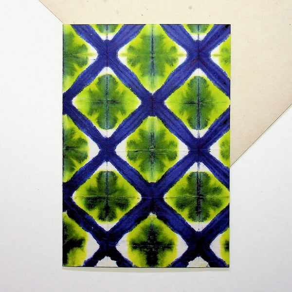 Handmade Blue Lattice Greeting Card - Cards Japanese Stationery