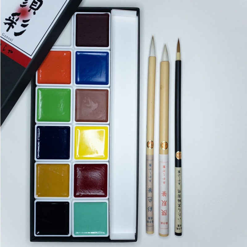 Handmade Gansai & Brush Watercolour Set - Calligraphy Ink Japanese Stationery