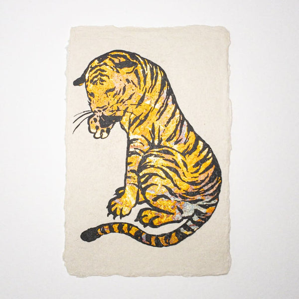 Handmade Gold Tiger Metallic Foil Postcard - Cards Japanese Stationery