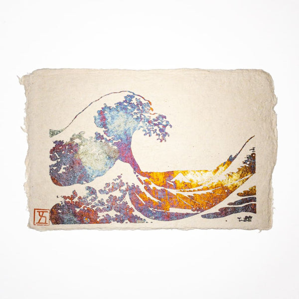 Handmade Great Waves Metallic Foil Postcard - Cards Japanese Stationery