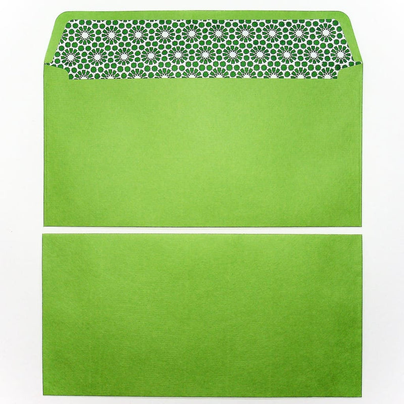 Handmade Green Yuzen Lined Envelopes. Set of 5. - Envelope Japanese Stationery