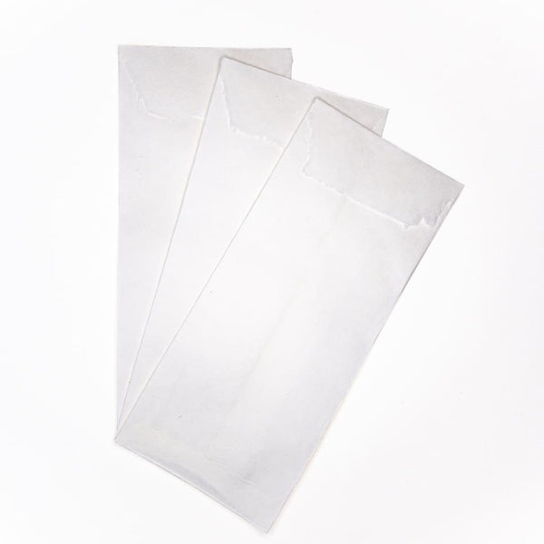 Handmade Inshu White Washi Envelopes. Set of 10. - Envelope Japanese Stationery