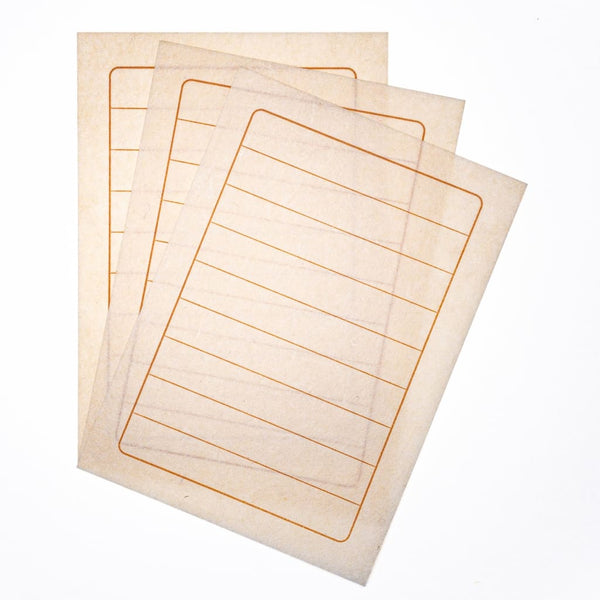 Handmade Letter paper with Stamped Lines. 25 Sheets - Letter Papers Japanese Stationery