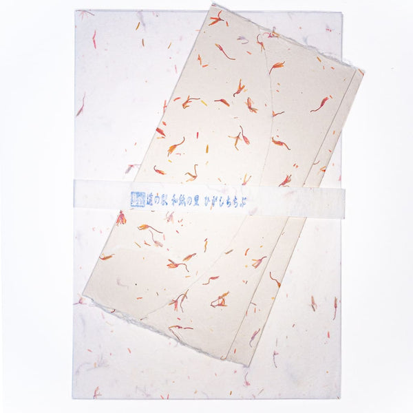 Handmade Safflower Petal Letter Set - Writing Sets Japanese Stationery