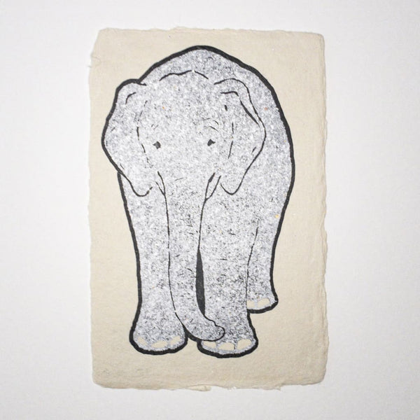 Handmade Silver Elephant Metallic Foil Postcard - Cards Japanese Stationery