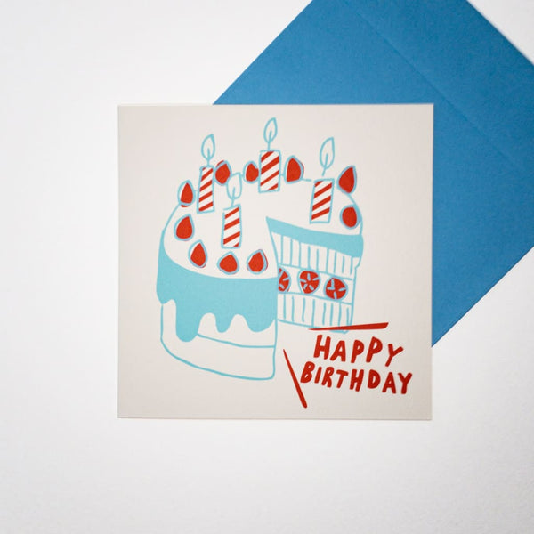 Happy Birthday Cake. Hand printed Greeting Card - Cards Japanese Stationery