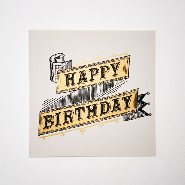 HAPPY BIRTHDAY Ribbon. Hand printed Greeting Card - Cards Japanese Stationery