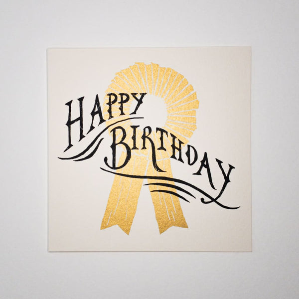 Happy Birthday Rosette. Hand printed Greeting Card - Cards Japanese Stationery