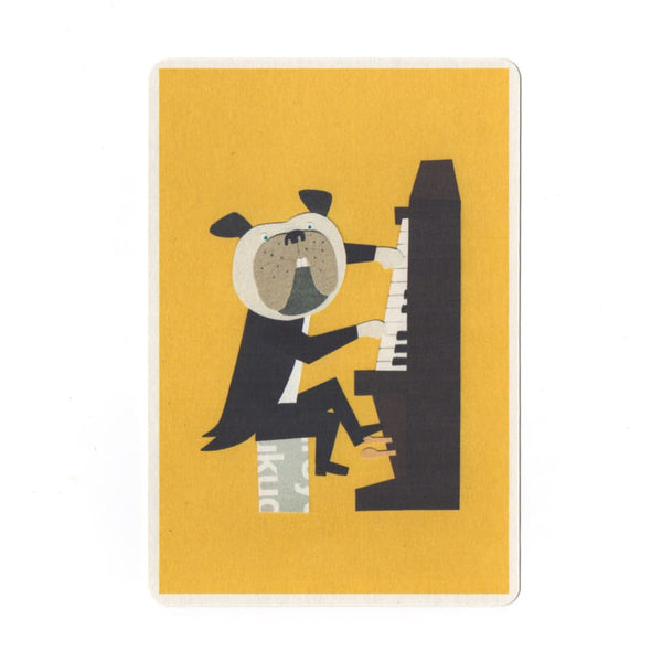 Jazz Dog Collage Print Postcard - Cards Japanese Stationery