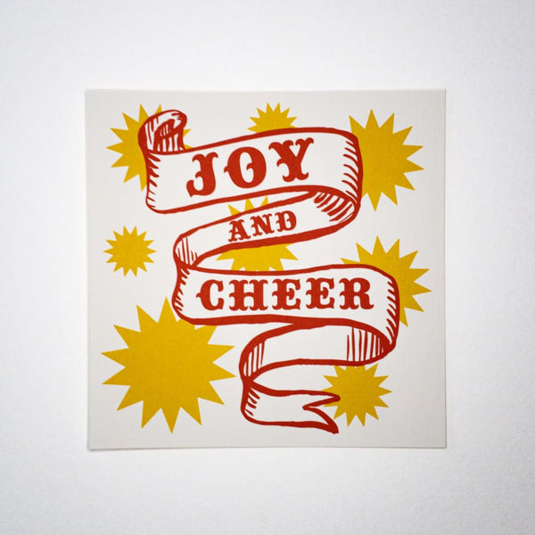 Joy & Cheer. Hand printed Greeting Card - Cards Japanese Stationery