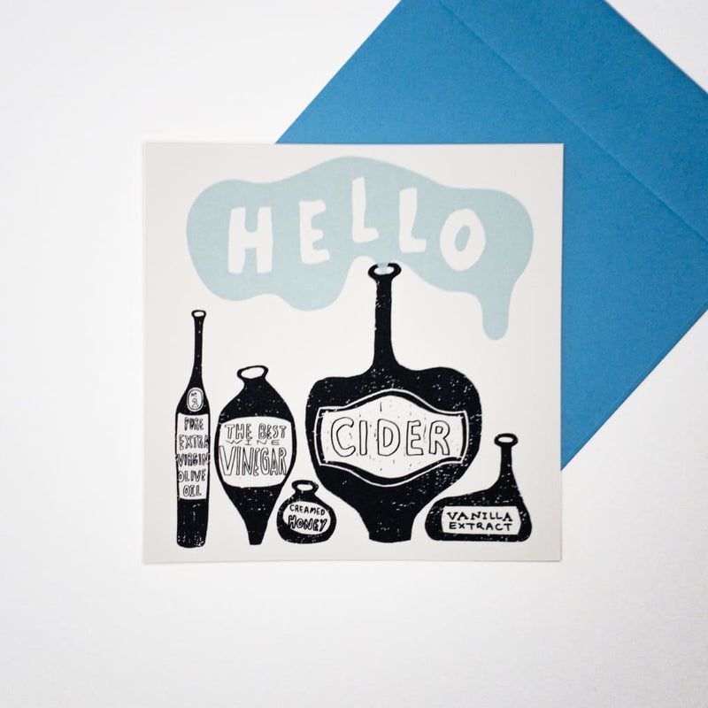 Kitchen Bottles. Hand printed Greeting Card - Cards Japanese Stationery