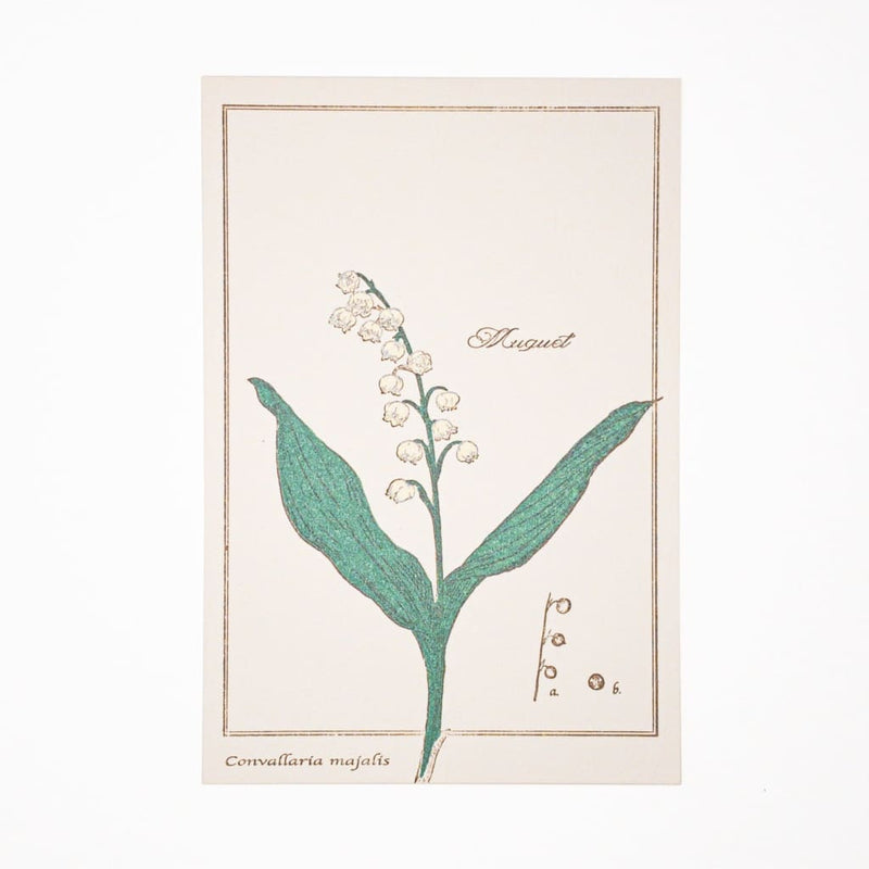 Letterpress Lilly of the Valley Postcard - Cards Japanese Stationery