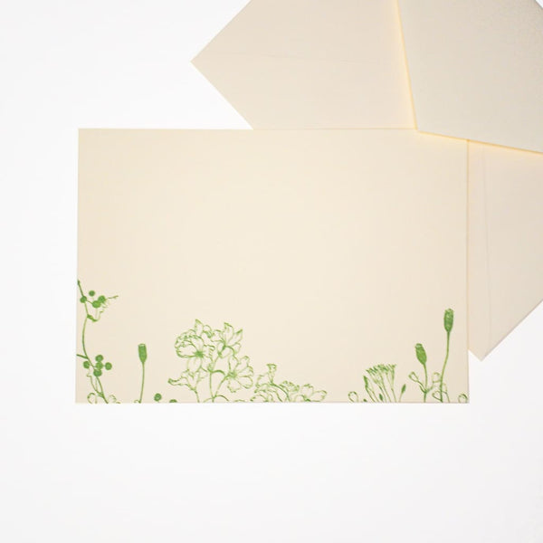 Letterpress Poppy Postcard & Envelope - Cards Japanese Stationery