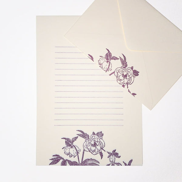 Letterpress Purple Hellebore Letter Set. 6 Sheets & 3 Envelopes - Writing Sets Japanese Stationery