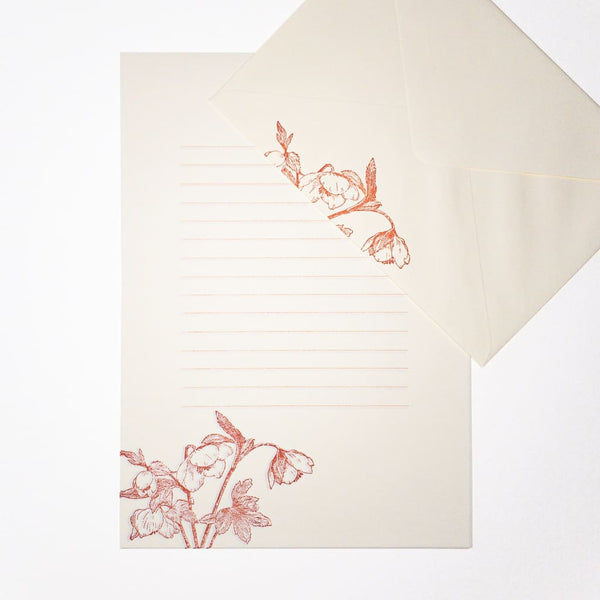 Letterpress Red Hellebore Letter Set. 6 Sheets & 3 Envelopes - Writing Sets Japanese Stationery