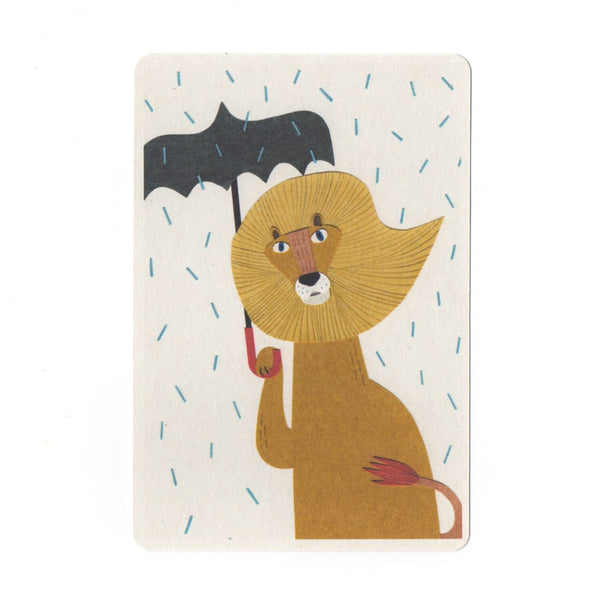 Lion Umbrella & Rain Collage Print Postcard - Cards Japanese Stationery
