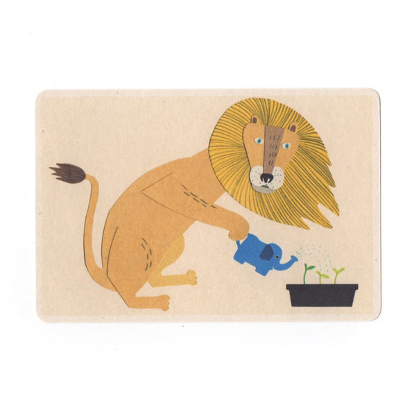 Lion Watering Seedlings Collage Print Postcard - Cards Japanese Stationery