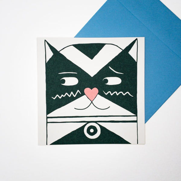 Love Cat. Hand printed Greeting Card - Cards Japanese Stationery